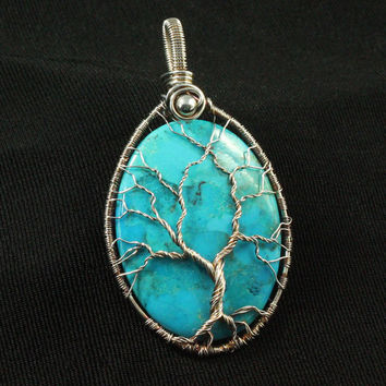 Turquoise Tree of Life, Sterling Silver Pendant, Blue Stone, Oval, Nature Jewelry, Silver Wire, Gnarled Tree, Antiqued