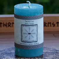 HEALING Spell Candle by Witchcrafts Artisan Alchemy for Healing, Health Magick, Blessing, Peace, Harmony, Inner Balance - Choose Candle Size