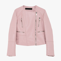 Light Pink Faux Leather Cropped Moto Jacket