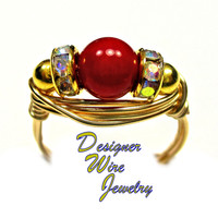 DWJ0336 Lovely Natural Red Coral & Czech Crystals Gold Wire Wrapped Ring