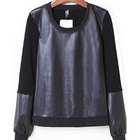 Black Leather Embroidered Long Sleeve T-Shirt