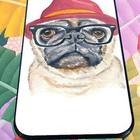 Cute Turquoise Pug Animal Illstration for iPhone 4/4s/5/5S/5C/6, Samsung S3/S4/S5 Unique Case *95*