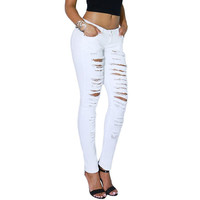 P02 Celebrity Style Women Ripped Destroyed Torn Skinny Leg Jeans Pencil Pants Demin Trousers Plus Size 2014 New Free Shipping