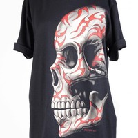 Women   Tops   T Shirts   One-sided Skull Tee Shirt      Indie Clothes & Accessories
