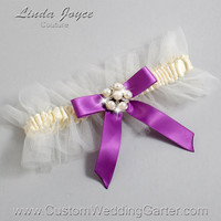 """Ivory and Purple Tulle Wedding Garter Bridal """"Natalie"""" Silver 871 Ivory 541 Helio  Purple Prom Luxury Garter Plus Size & Queen Size"""