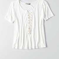 DON'T ASK WHY LACE-UP T-SHIRT