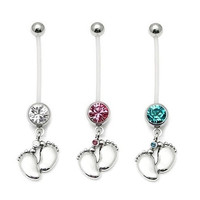 Fashion Charming Maternity Bendy Belly Ring Tiny Feet Crystal Pregnancy Bar Navel Ring Jewelry (With Thanksgiving&Christmas Gift Box)= 1645787652