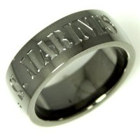 Stainless Steel Men or Womens Band Ring with Military US Marines Inscriptions, Gunmetal Color