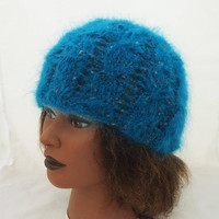 Hanknitted Women Hat, Cable Hat, Mohair Hat, Cloche Hat, Hat in Aqua Blue