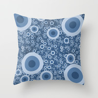 Blue bubbles Throw Pillow by Tony Vazquez