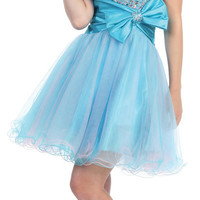 Turquoise Strapless Tulle Beaded Bow Prom Dress - Unique Vintage - Cocktail, Pinup, Holiday & Prom Dresses.