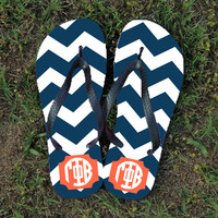 Personalized Greek Letters Flip Flops with Chevron Design