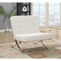 Global Furniture Natalie Leather Accent Chair in White - Walmart.com