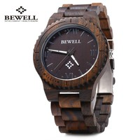 Bewell ZS - W065A Wood Men Quartz Watch Roman Numeral Scales Waterproof Wooden Man watches 2016 Brand Luxury relogio masculino