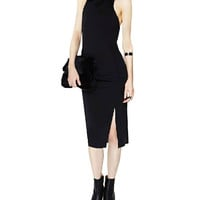 Black Sleeveless T-Back Cut-Out Bodycon Dress
