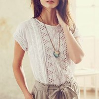 Punch-Lace Tee by one.september White