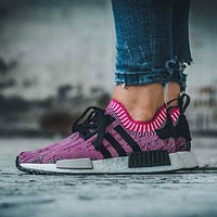 Adidas NMD R1 PK Shock Pink Rose Glitch Black BB2363 Boost Sport Running Shoes Classic Casual Shoes Sneakers