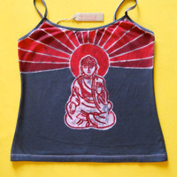 Meditating Buddha Batik yoga spaghetti Top hand painted & hand dyed women - yoga clothes - vintage black Size XS, S, M, L
