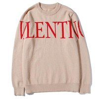 Valentino autumn and winter casual fashion letter printing knit loose long-sleeved sweater Apricot