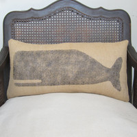 Cachalot Whale  - Burlap Feed Sack Pillow - Nautical Decor Whale Pillow