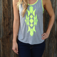 Neon Embroidered Aztec Top