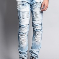 Heavy Dye Biker Denim Jeans