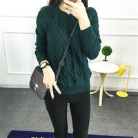Women's Round Collar Long Sleeves Small Rhombus Pattern Sweater