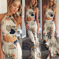 2016 New Women Summer Sexy Two Piece Dress Halter Boho Bandage Long Maxi Beach Dress Elegant Lady Party Dresses Sexy Vestidos