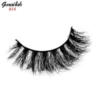 Genailish Mink Lashes 3D Mink Eyelashes Natural False Eyelashes 1 pair Handmade Fake Eye Lashes Extension for Beauty Makeup-A14