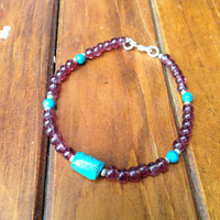 Hand Made Tibetan  Mala Bracelet With Garnet and Turquoise Beads
