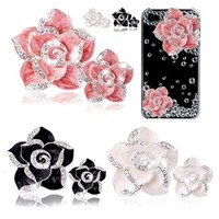 350buy Alloy Crystal Camellia or Bow DIY Mobile Phone Case Decoration White