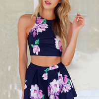 Blue Floral Sleeveless Backless Bodycon Cropped Top Mini Skater Skirt Set