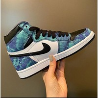 Nike Air Jordan 1 Mid AJ New Couple Color Block High-Top Sneakers (Four Colors)