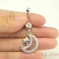 moon and star belly button jewelry,moon and star belly button rings,moon navel ring,lucky piercing belly ring,friendship piercing bellyring