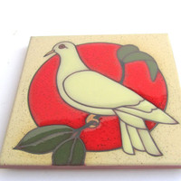 Vintage Dove Tile by J Hearn Bisbee  Ceramic Glazed in Red, White and Green