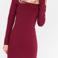 Berry Fitted Off The Shoulder Dress from EXPRESS