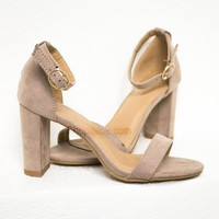 Classic Suede Heels | Taupe