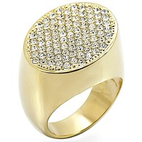 Gold Brass Ring with Top Grade Crystal