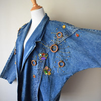 80s Denim Batwing Dolman Sleeve Oversized Jacket // Beaded, Jewels, Wooden Rings // Old School Hip Hop Swag, Saved by the Bell, Fresh Prince
