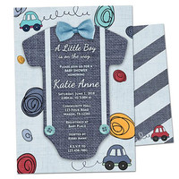 Car Baby Shower Invitations - Doodle Cars Baby Shower Invitation - Boy Baby Shower Invite - Transportation Little Man - Boy On The Way