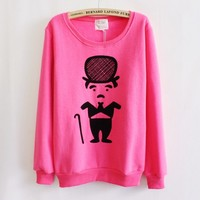 White Thickened Fleece Characters Solid Sweater