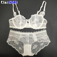 ATTENDRE Sexy Transparent Women Bra Briefs Sets Embroidery Ladies Ultrathin Lace Underwear Intimates Lingerie Bras And Panty Set