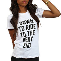 The Down To Ride Tee in White