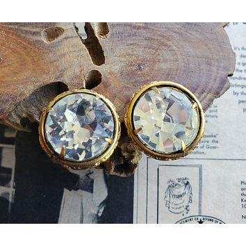Rare signed Freirich Headlight crystal clip on Etruscan stamped metal vintage earrings