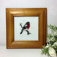 Embroidery wall decor - embroidery framed picture - handmade embriodery - bird bullfinch robin -Christmas new year 2015 - europeanstreetteam