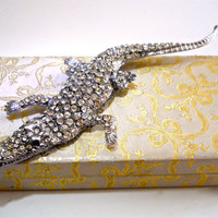 Massive Alligator Brooch by BUTLER and WILSON, Rhinestones, 6 plus Inches, Vintage