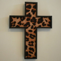ANIMAL PRINT CHEETAH Wall Cross  handpainted by LaurieBCreations