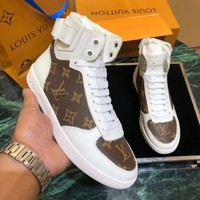 Louis Vuitton LV Fashionable Women Casual Print High Tops Sport Running Shoes Sneakers White/Coffee
