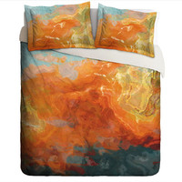 Duvet Cover with abstract art, king duvet cover or queen duvet cover in orange, yellow and teal, contemporary bedroom decor Electric