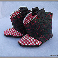 Red White Baby Cowboy Cowgirl Boots Children's Black Faux Vegan Leather Infant Booties